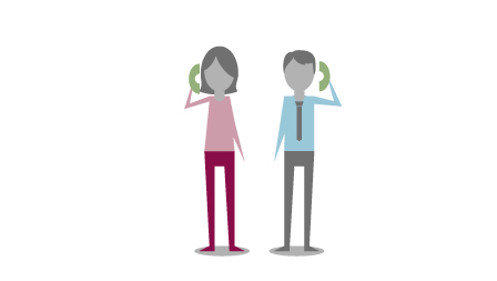 Zwei gezeichnete Figuren mit Telefonhörern.